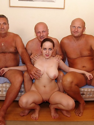 Three old men and a young chick fucking and sucking