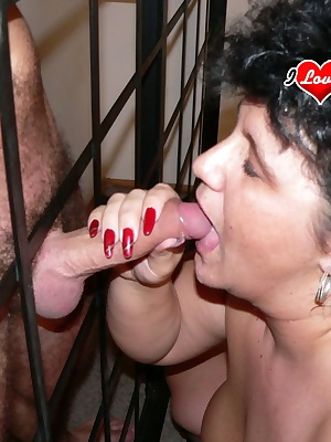 This big chunky mature slut gets wet and horny