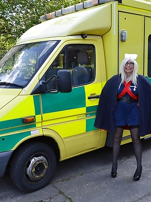 Nurse barby helps out on an ambulance and  enjoys making a patient feel better.