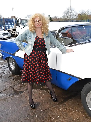 Barby does a naughty but classy picture shoot with a classic American car and then gives the owner his reward.