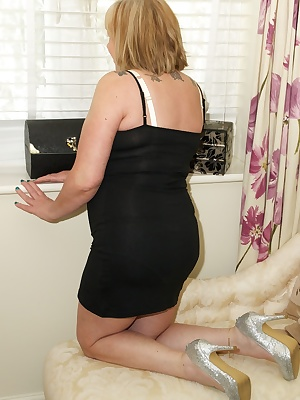 Im wearing my very skimpy little black dress with my new yellow underwear underneath and I soon have the dress off and m