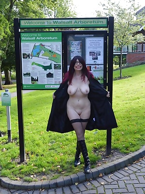 Barby goes out flashing around a park and hotel.