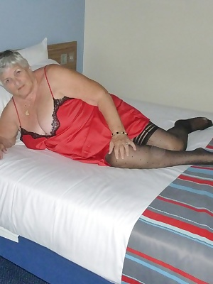 Grandmas favourite red silk nightie again.  I was at an hotel and realised my red silk nightie would look good with the