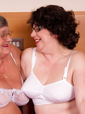 More lesbian fun with auntie Trisha  She is a really sexy lady and gives Grandma Libby a great thrill as we kiss and cud