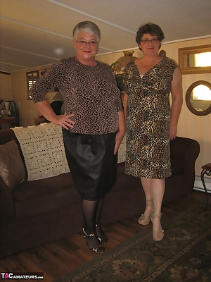 Those sexy bad gramas are here to show off their new matching  open bottom all in one rago girdles. They will make you c