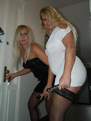 Two horny blonde girls that is pushing the dildo in their pussies and have liked it. Your cock would be nice you come