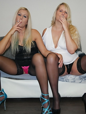 Horny I smoke with my new bi friend. We stuck to cigarettes and smoking us with pleasure while we show you our pussies.