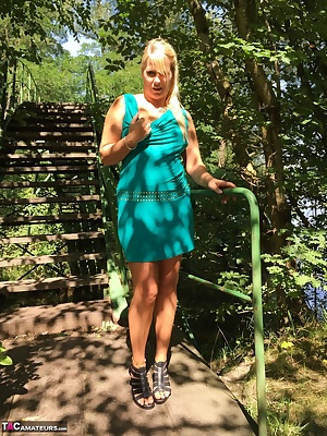 On the stairs in the Woods walking genes I'm going out naked.