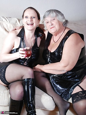 Grandma Libby visited a friend recently and just see how she made me welcome  Fantastic lesbian action here as we kiss a
