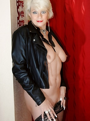 Pictures of me in a leather jacket, skirt and stockings. I then remove my skirt and open my jacket to reveal that I have
