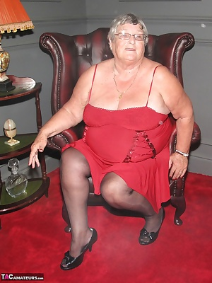 Red dress, black stockings and shiny peep toe high heels.  A real sexy outfit for Grandma Libby but I know you all would
