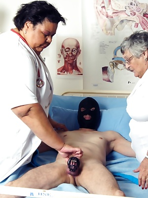 Nurses Libby and Gaby have a great time examining this patient.  I am sure he was faking it because as soon as his favou