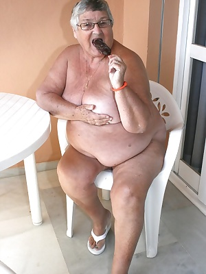 Naked granny getting messy with chocolate on the balcony.  It is perhaps a good job thios balcony was not overlooked but