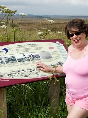 Hi Guys, Posing as Auntie Trisha for this set and here I am all in Pink at Sledgates Top on Fylingdales Moor in North Yo