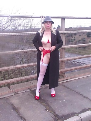 Barby shows off her red undies outside.
