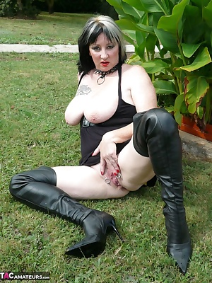 Outdoor photo sets with a short dress and boots, I show my big tits and my pussy