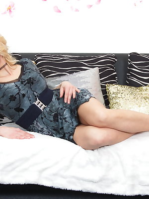 Hot Blonde MILF playing with her younger lover