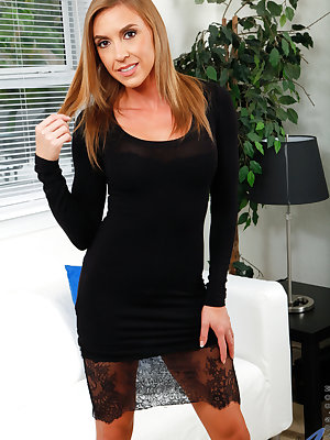 Newcomer Kate Linn is a sweet American mom with enhanced tits and a booty that will bring you to your knees. After peeling off her miniskirt and thong, she lays herself out on the couch and proves that she's one hot number by pushing her fingers knuckle d