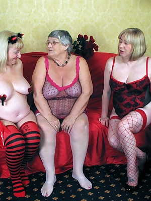 Threesome fun again with Grandma Libby and her sexy girlfriends.  Put three luscious ladies together on a settee and wai