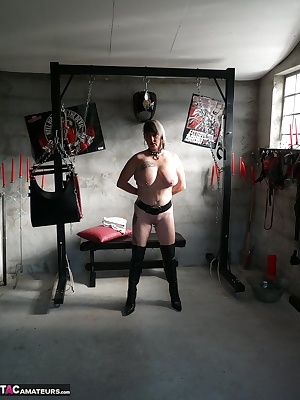 Bdsm session with my master, Stretching of my nipples, my big tits and my pussy lips with big weights 4 kilograms suspen