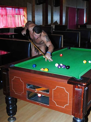 Playing pool naked and in lingerie with two young lads.