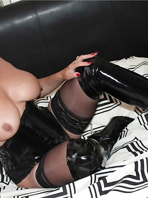 Dress in PVC corset thigh boots stocking and black panties in a some and pantiless in most. Also my great natural boobs