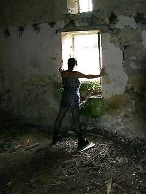 Fetish pics in the farm ruins dressed in gothic slut where I pee