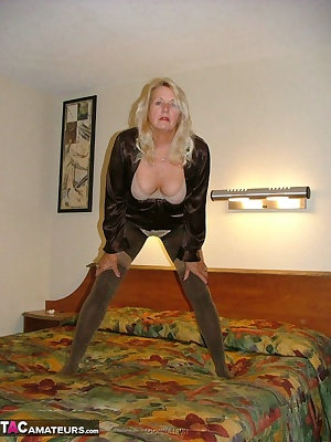 Like layered stockings - here I am in some sexy sparkly pantyhose with thigh high stockings and garter over them - until