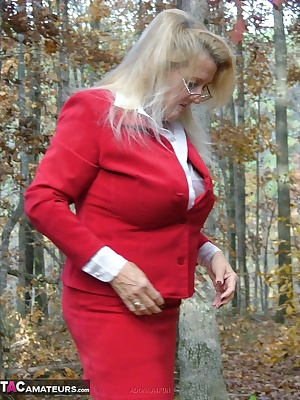 Sexy secretary enjoying a picnic in the woods - a see thru blouse - some upskirt - and a tiny pocket rocket for some rea