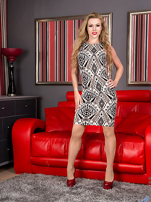 Blonde beauty Michelle Moist is ready to rock your world. Her short miniskirt rides up easily to show off the lusty creaminess of her cock craving fuck hole. Once she has peeled off her dress entirely, nothing will stop this hot mom from fondling her all