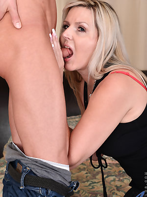 Getting her twat pounded is goal number one when Velvet Skye meets her boyfriend. She wraps her puffy lips around his dick for a deep throat BJ, then lays back and enjoys a creamy pussy licking. Then she rides her lover into sensual oblivion as her boobs