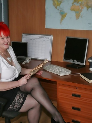 It's always good to 'show off' in the office, especially when the naughty boss is taking the pics.