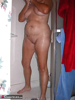 Leggy, naked, soapy and wet - peek in while I shower and shampoo.