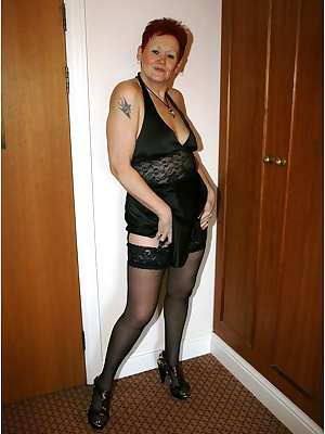 I am loving this sexk silky black lingerie, stockings and cfm heels.