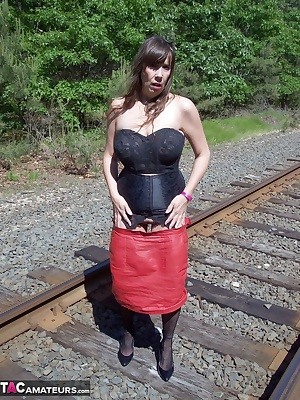 u never know where u will find me showing off...the railroad tracks were so much fun, especially when i had a few trains