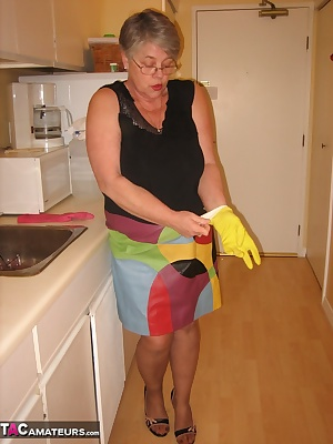 I see im gojng to have to clean up here  If i show you my sexy girdle with my latex gloves on, you will do the dishes Im
