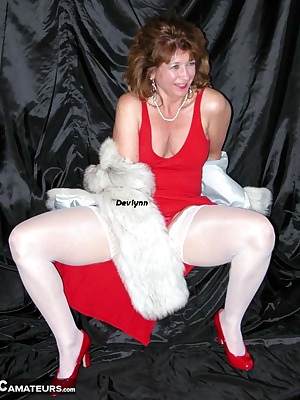 This has fur on and around, white stockings, a long dress, some feet, and well, me just being me.