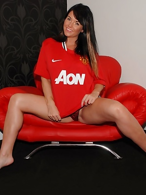 Here is Raunchy Ravishing Raven again to show us her adorable charms in a Manchester United shirt.  Her Red Devil shirt