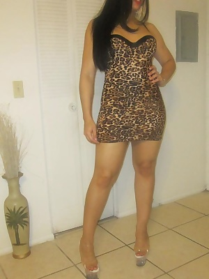 In this picture set, you will see Ching Lan wear a tight leopard print dress. She teases you with her curves. Her big ju