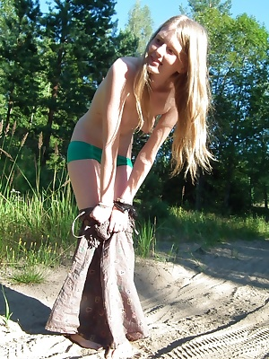 Cute EvelinaJuliet expresses her inner exhibitionist. She wears her normal clothes, cute dress and green undies, with no