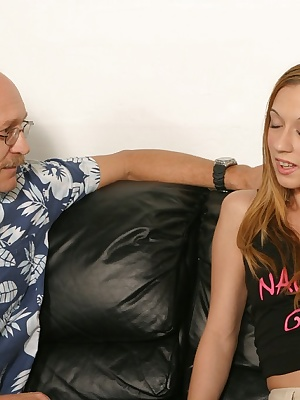 Its Kathys first time in a porn studio. She has already proved her cock sucking skills, now its time for her to prove he