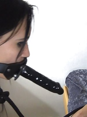 Younger sweet girl fucking the pussy of her mature girlfriend with strapon dildo