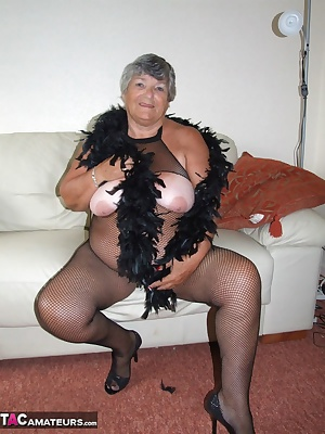 Peter came to take some photos of me and bought me this lovely black body-stocking with open top crotch . Seeing my pear