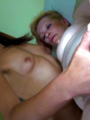Huge dildo shared by old woman and  her girlfriend