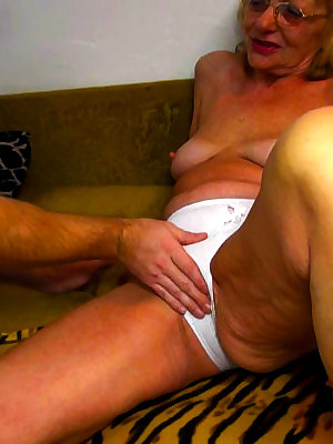 Naughty grandma fingered and sucking dick