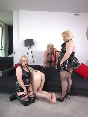 Chris had asked to be dominated by all 3 of us so we got out our paddles and flogger...... we each took turns to grab hi