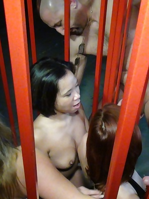 Melissa met her two girlfriends, they wanted to know how it feels to be in a cage and getting guys around them using the