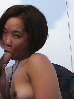 Sexy Asian Melissa can't her hard cock in front of her without having it in her throat, a normal blow job isn't possible