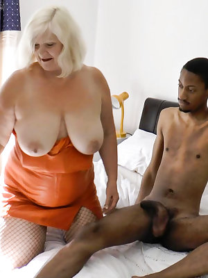 Well aged blonde mature bbw chubby sucking and fucking two dicks