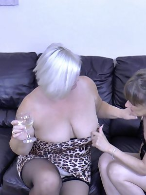She is fucking in threesome and is fucked by younger fit man.